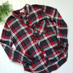 Cloth & Stone Anthropologie Red Gray Flannel sz Sm